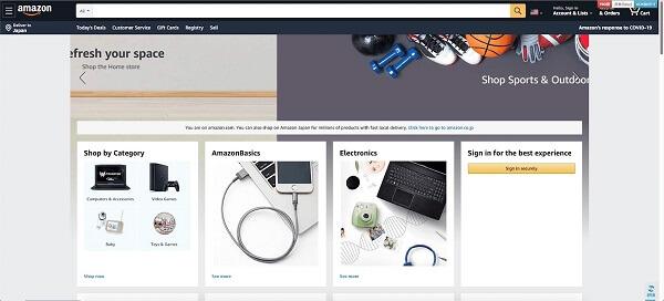 アメリカamazonのトップ画面
